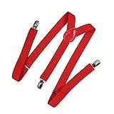 Romacci Herren Damen Y-Form Hosen Hosenträger Gürtel-Bandage Elastisch, Rot1, Standard