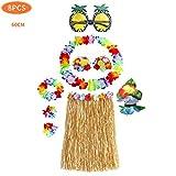 8 Stück Hawaiian Hula, Grass Rock Set, mit Halskette Armbänder für Party Fancy Dress und Tropical Beach für Erwachsene Unisex,Stirnband Blume BH Haarspange und Ananas Sonnenbrille Party Dekoration
