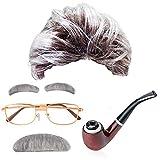 MMTX Alter Mann Kostüm Zubehör Perücke Herren Grau mit Augenbrauen Schnurrbart, runde Brille, Tabakspfeife Verkleidung Großvater Grandpa Granddad Party Fasching Kostüm Accessoire