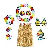 N Hawaii Party Kostüm Set, Hula Grass Rock Set, Hula Rock (Naturfarben), Blumenkette, Blume Armbänder, Blumen BH, Haarblume, Ananas Sonnenbrille, für Beachparty Deko