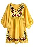 FUTURINO Damen Sommerkleid Bohemian Stickerei Floral Tunika Shift Bluse Flowy Minikleid,02 Gelb,XL