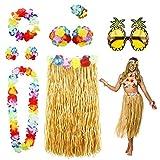 PHOGARY 8 Teilig Hawaii Mottoparty Kostüme Set, Hula Rock (Naturfarben), Blumenkette, Blume-Armbänder, Blumen-BH, Haarblume, Ananas-Sonnenbrille für Tikiparty Beachparty Deko