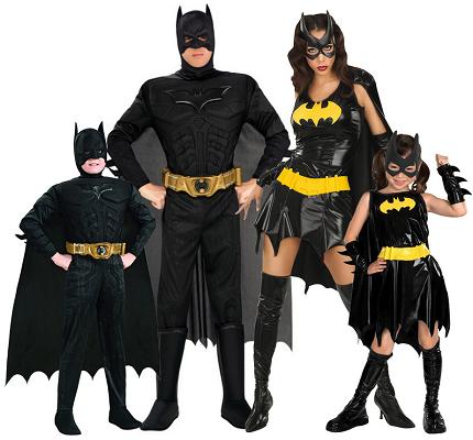 Gruppenkostüm-Fasching-Karneval-Halloween-Batman-Batgirl-4-Personen