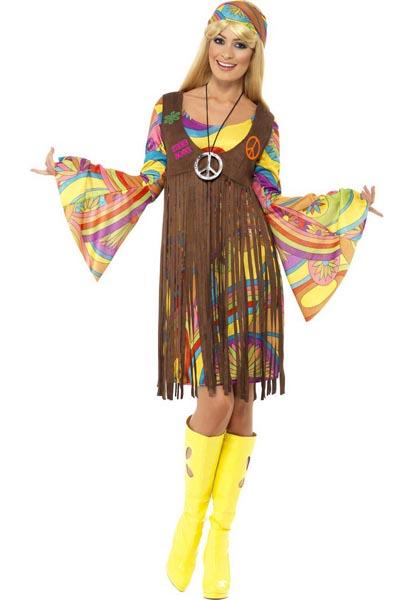 70er-Jahre-Hippie-Kostüm-Damen-Frauen-Erwachsene