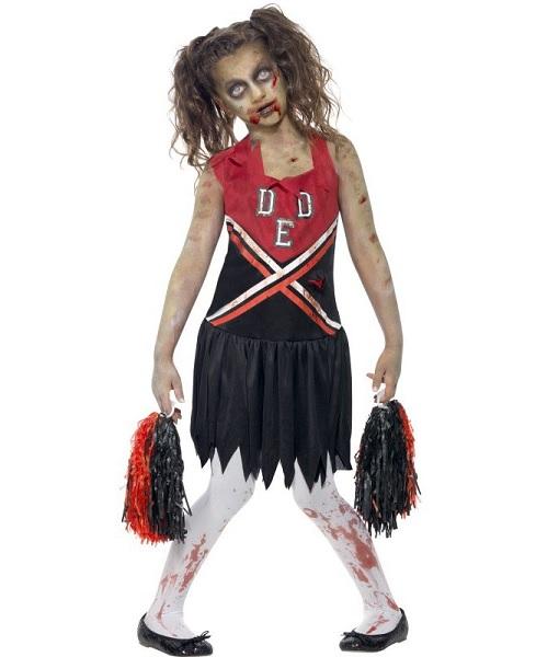 Zombie-Cheerleader-Kostüm-Kinder-Mädchen