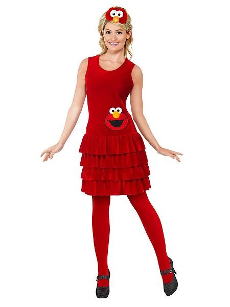 Sesamstraße-Kostüm-Elmo-Damen-Frauen-Erwachsene