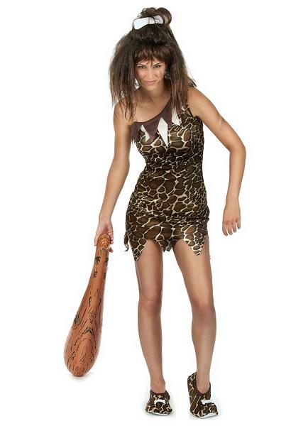 Steinzeit-Kostüm-Neandertaler-Kostüm-Damen-Frauen-Erwachsene